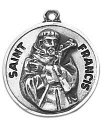 Sterling Patron Saint Francis  Medal