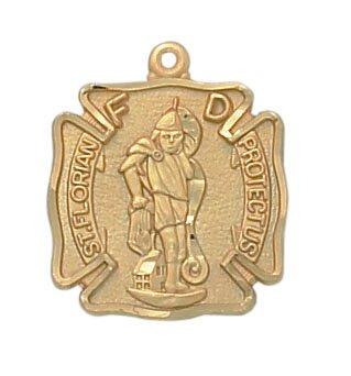 24kt Gold Plate Over Sterling St. Florian Medal