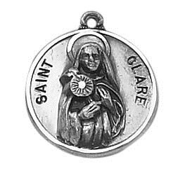 Sterling Patron Saint Clare Medal