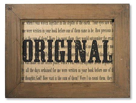 Original Framed Printed Linen Plaque -2/pk