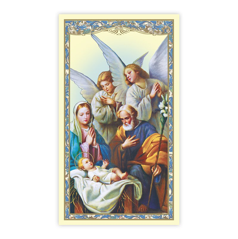 Nativity with Adoring Angels Holy Card - 100/pk