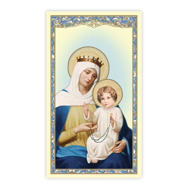 Our Lady of the Rosary Holy Card - 100/pk