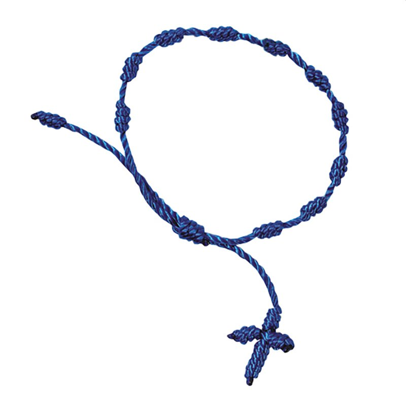 Knotted Cord Rosary Bracelet - Blue - 48/pk