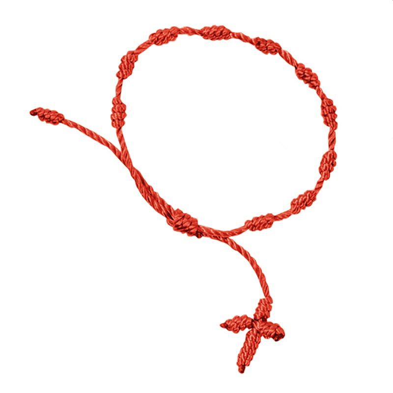 Knotted Cord Rosary Bracelet - Red - 48/pk