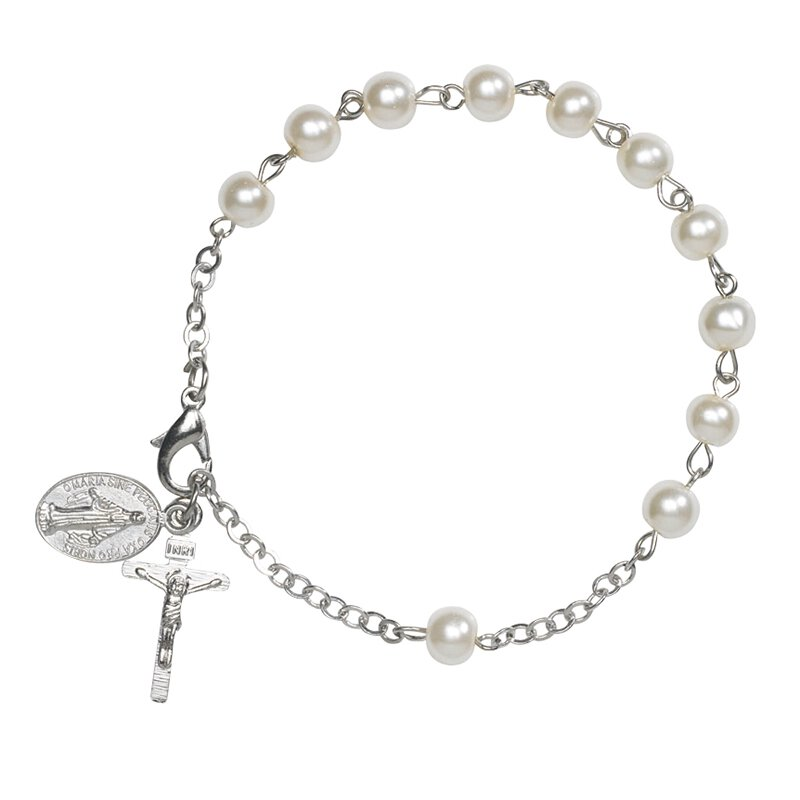 Ivory Imitation Pearl Rosary Bracelet - 12/pk
