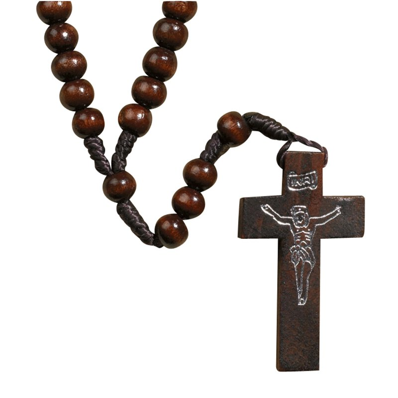 Franciscan Wood Cord Rosary - Dark Brown