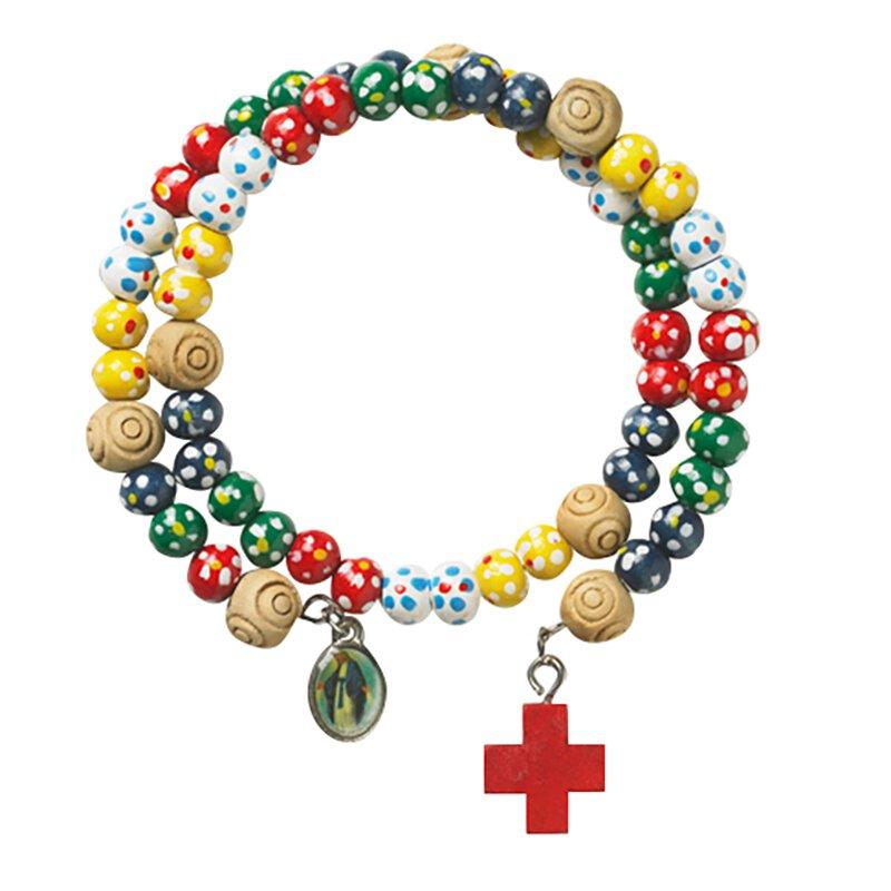 Colorful Wood Wrap Rosary Bracelet