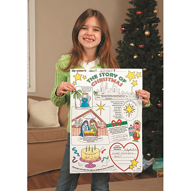 Color Your Own Poster - Story of Christmas - 50/pk