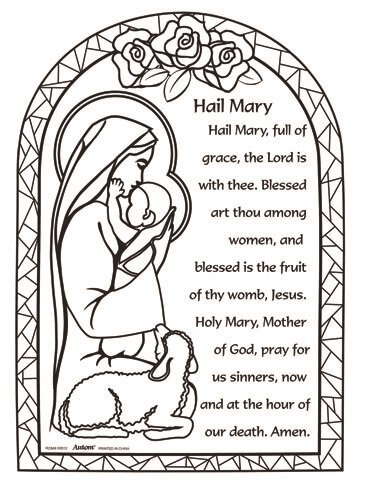 Printable Coloring Pages Virgin Mary : Color Your Own Prayer Picture Hail Mary 48/pk