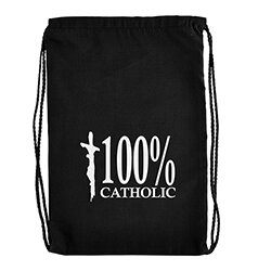100 percent Catholic Drawstring Backpack - 12/PK