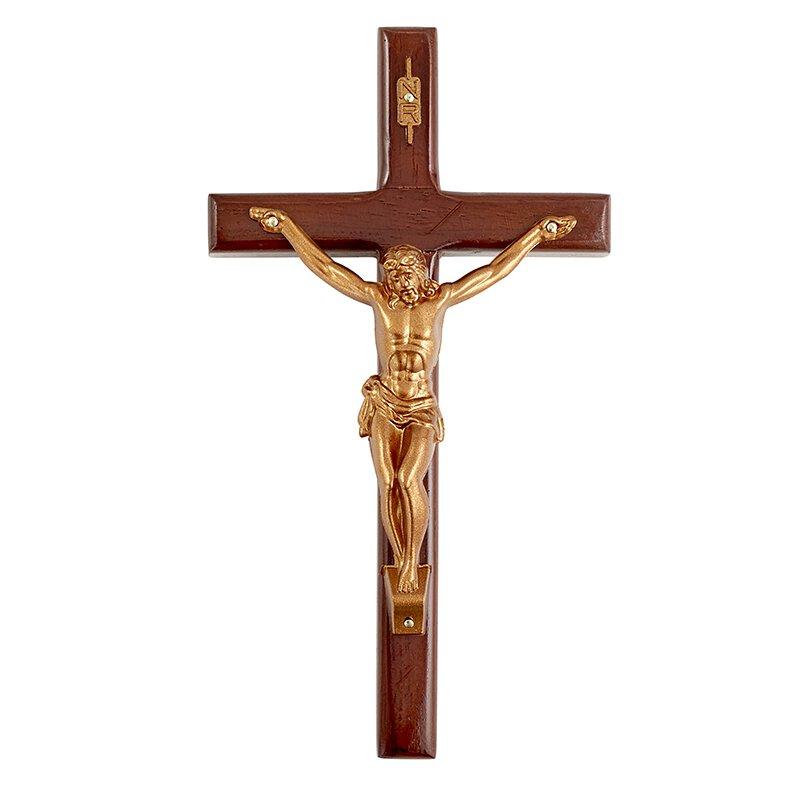 """8"""" Wood Crucifix - 3/pk"""