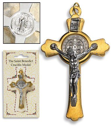 Gold Saint Benedict Cross - 6/pk