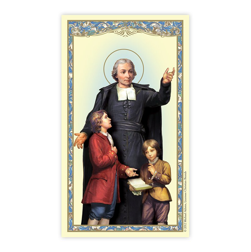 Saint John Baptist de La Salle Laminated Holy Card - 25/PK