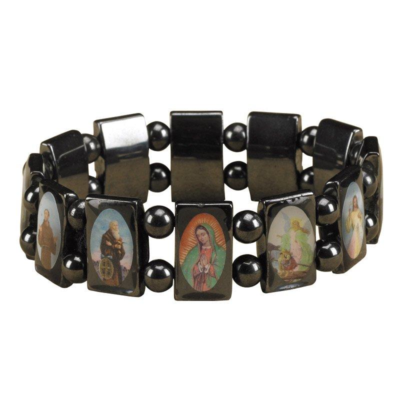 Hematite Devotional Saints Bracelet - 10/pk