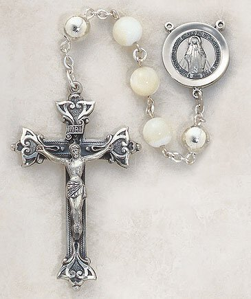 Sterling Silver Rosary Mother Of Pearl