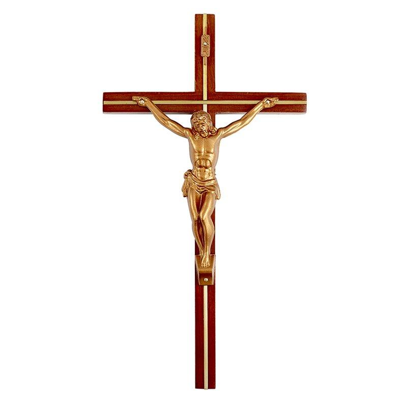 "12"" Brass/Gold Crucifix-Walnut - 3/pk"