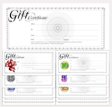 gift certificate template classic black and white spirograph