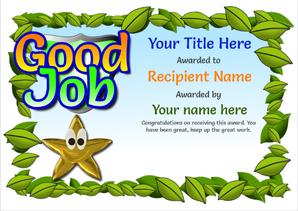 childrens-certificate-good-job Image