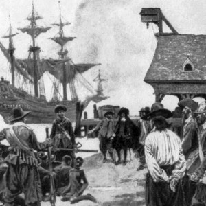 """""""Landing Negroes at Jamestown from Dutch man-of-war, 1619,"""" illustration in Harper's Weekly Magazine, January 1901. Source: Library of Congress"""