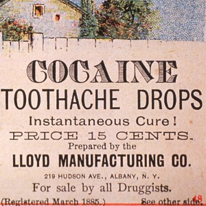 Detail from cocaine toothache drops advertisement, 1885.