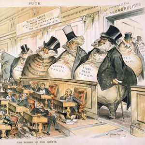 """Detail from """"The Bosses of the Senate,"""" Puck, January 23, 1889 (Library of Congress)."""