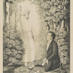 """Illustration: """"The angel Moroni delivering the plates of the Book of Mormon to Joseph Smith,"""" 1886. Credit: Library of Congress"""