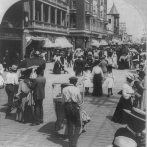 Atlantic City's crowded boardwalk on a summer morning, circa 1903. Source: Library of Congress