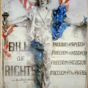 """Female symbol of America holding torch in front of Bill of Rights and standing on """"150 years"""" pedestal. Pastel drawing by Howard Chandler Christy, 1941. Library of Congress."""