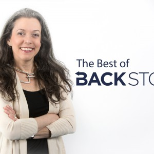 """Joanne Freeman headshot against white background, to the right are the words """"The Best of BackStory"""""""