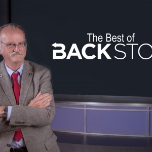 """An image of BackStory host Peter Onuf with the text """"The Best of BackStory"""" in the background. Photo: Sanjay Suchak"""