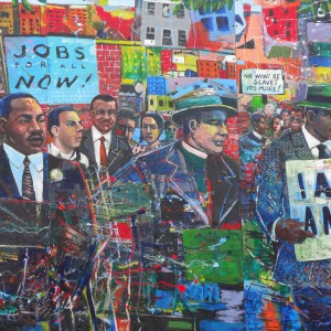 """""""Civil Rights mural at Martin Luther King Memorial Park in Atlanta,"""" May 18 2013 by denisbin via Flickr. Used under CC BY-ND 2.0 (https://creativecommons.org/licenses/by-nd/2.0/)"""