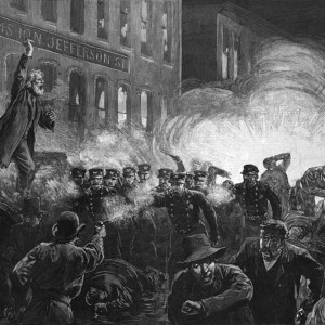 The Anarchist Riot in Chicago - A Dynamite Bomb exploding among the police. An illustration in Harper's Weekly, May 15, 1886. Source: Library of Congress