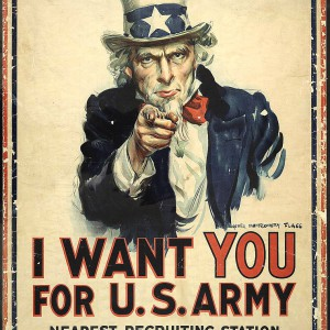 """""""I want you for U.S. Army: nearest recruiting station"""" by James Montgomery Flagg. Source: Library of Congress"""