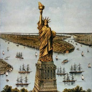 """""""The great Bartholdi statue, Liberty enlightening the world,"""" Currier & Ives, 1885 (Library of Congress)."""