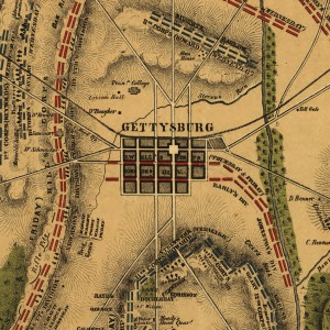 Field of Gettysburg, July 1st, 2nd & 3rd, 1863; map by Philada. P. S. Duval & Son lith. 1863. Source: Library of Congress