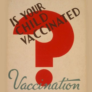 Detail from Chicago Department of Health vaccination poster, produced by the Works Progress Administration, late 1930s (Library of Congress).