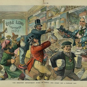 """1899 illustration from Puck magazine, reading """"The greatest department store on Earth; —and every day a bargain day."""""""