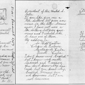 Photocopy created by United States Archives of all three pages of a letter written on November 6, 1940 by Fidel Castro Ruz to President of the United States Franklin Delano Roosevelt. The letter is the property of the US government held in US Archives. Source: Wikimedia Commons
