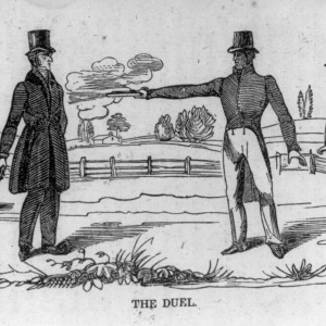 The Duel, 1834 woodcut. Andrew Jackson killing Charles Dickenson. Source: Library of Congress