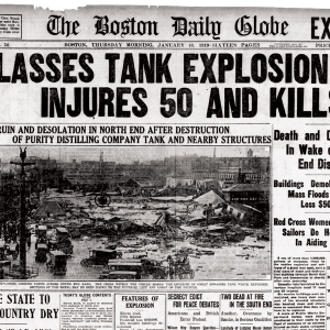 """The front page of the Boston Daily Globe, January 16, 1919. Headline: """"Molasses Tank Explosion Injures 50 and Kills 11."""" Source: newspapers.com"""
