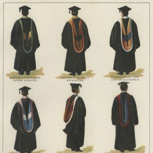"""Detail from """"Academic Gowns, American Usage,"""" chromolithographic print by Julius Bien & Co., 1903."""
