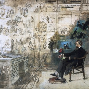Drawing of Charles Dickens sits before a desk, sketched characters superimposed. Source: Bridgeman Images