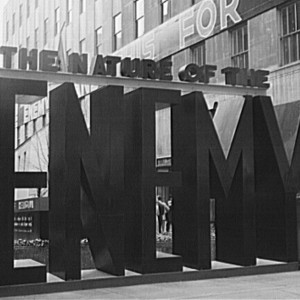 The entrance to the Nature of the Enemy show, put up by the United States OWI (Office of War Information) at Rockefeller Plaza, May 1943. Source: Library of Congress