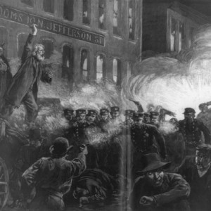 """""""The Anarchist Riot in Chicago,"""" from Harper's Weekly, May 15, 1886 (Library of Congress)."""