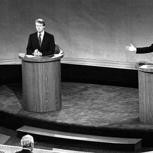 President Gerald Ford and Jimmy Carter meet at the Walnut Street Theater in Philadelphia to debate domestic policy during the first of the three Ford-Carter Debates. Source: Wikimedia Commons