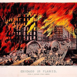 """""""Chicago in Flames: Scene at Randolph Street Bridge,"""" depicting the Great Fire of 1871. Currier & Ives. Library of Congress."""