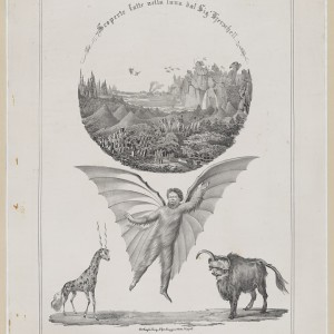 Print shows illustration relating to the Great Moon Hoax with a human-bat creature, two other supernatural creatures, and a lunar landscape. Source: Library of Congress