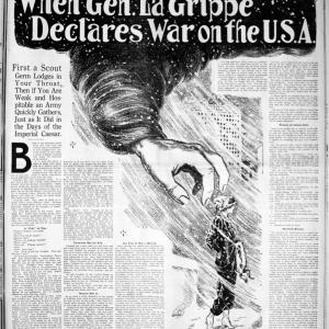 """When Gen. La Grippe Declares War"" - The Ogden Standard, Ogden, Utah. Library of Congress."