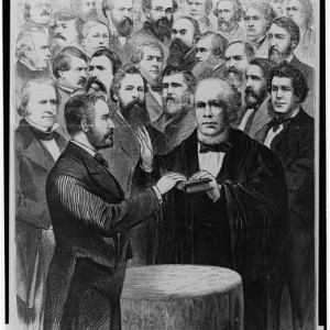 President Grant taking the oath of office, 3/4/1873. [Library of Congress]