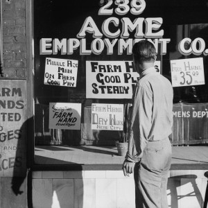 John Vachon photo of a Minneapolis employment agency, 1939. Source: Library of Congress